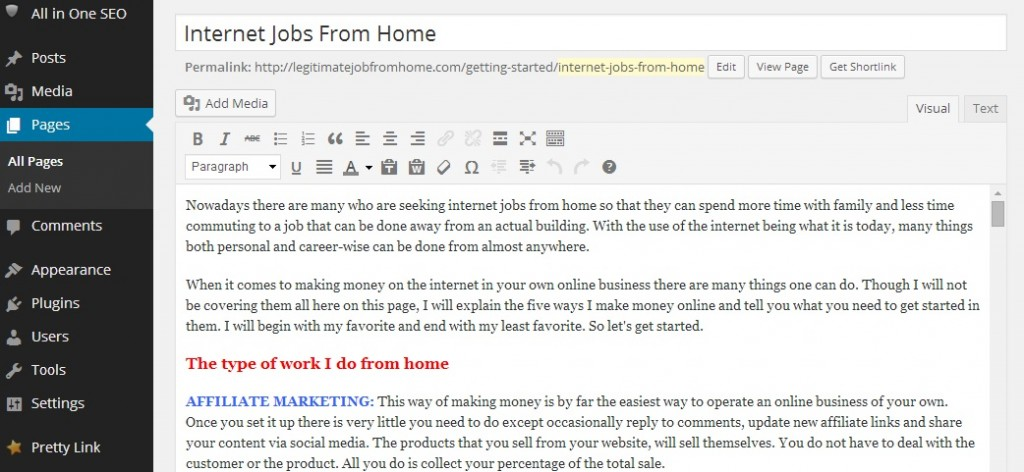 Internet Jobs From Home - Website Creation