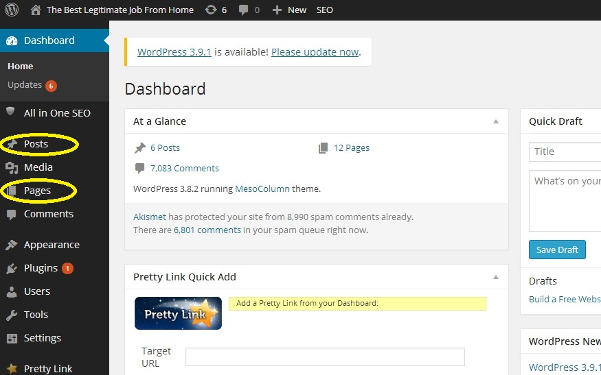How to Build a Website with WordPress_Dashboard
