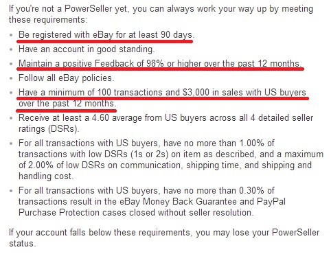 eBay Power Seller Requirements