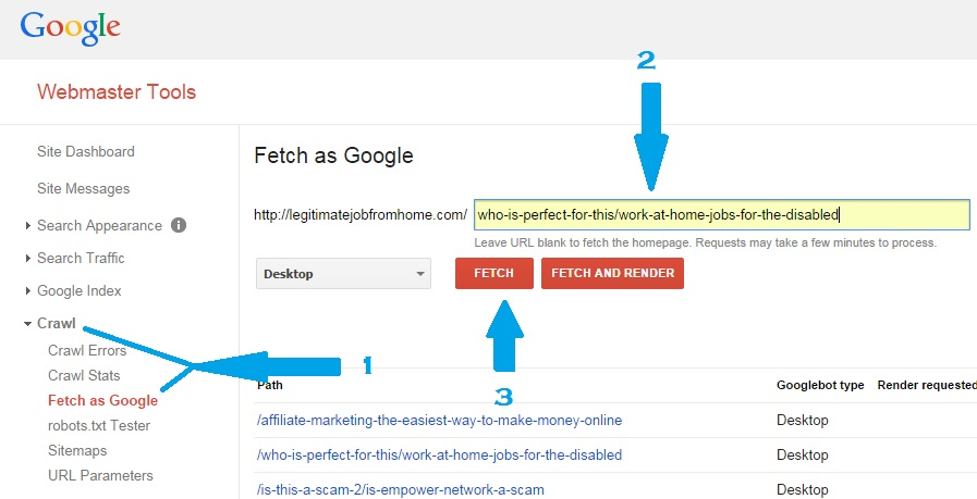 What is Fetch as Google in Webmaster Tools 1