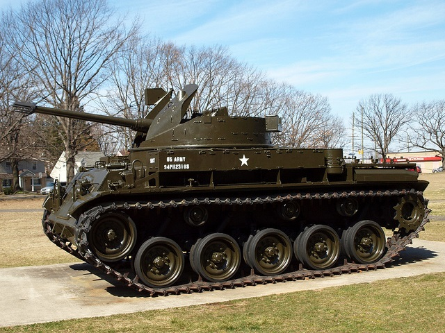 Military tank outside Teaneck Armory in New Jersey