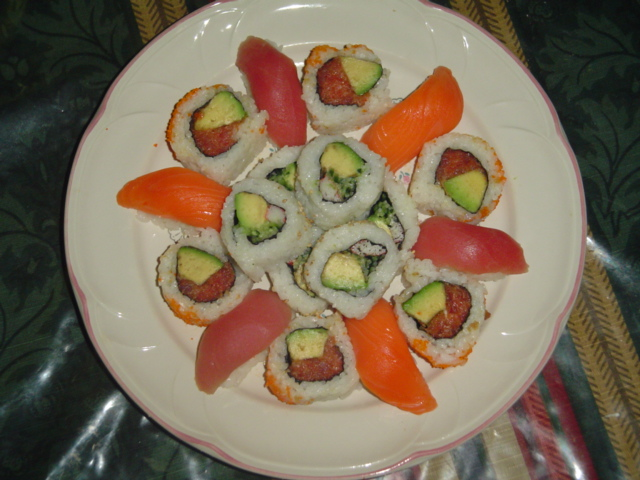 A plate of sushi for dinner