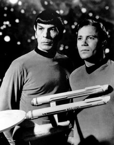 Star Trek items for sale Spock and Kirk with the Enterprise