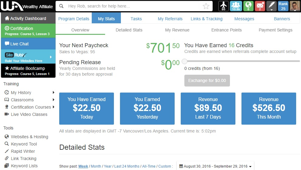 wealthy affiliate payout