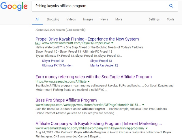 Google results for fishing kayaks affiliate programs