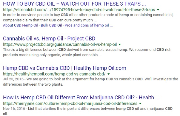 A Google search of the keyword CBD Hemp Oil