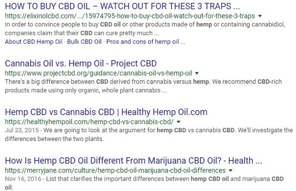 A Google search of the keyword CBD Hemp Oil