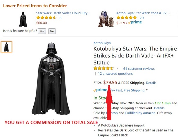 Darth Vader Star Wars collectible on Amazon website