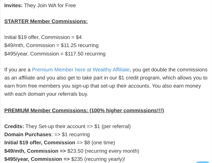 Wealthy Affiliate Program Commission Amounts 2020