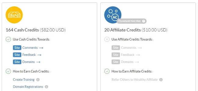Wealthy Affiliate Credits for Cash payments for February 2018