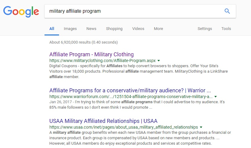 Google Search Results for Military Affiliate Programs