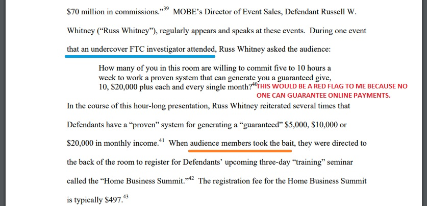FTC accounting of what Russell W. Whitney said to MOBE members