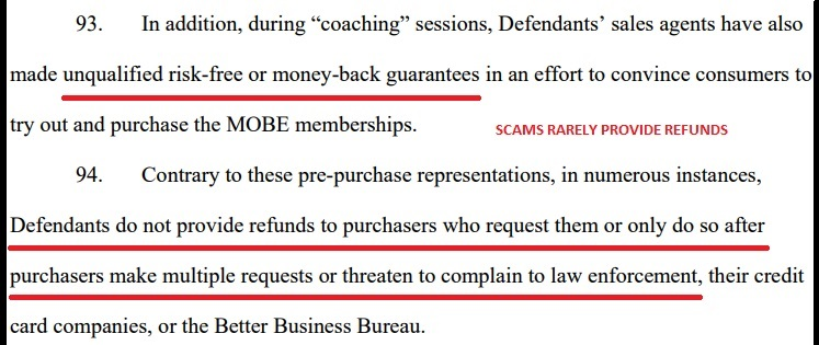 The FTC states in its court document against MOBE how former members could not get refunds