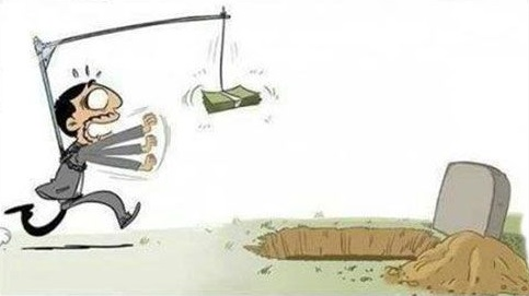 Cartoon of a man chasing after big money being dangled in front of him