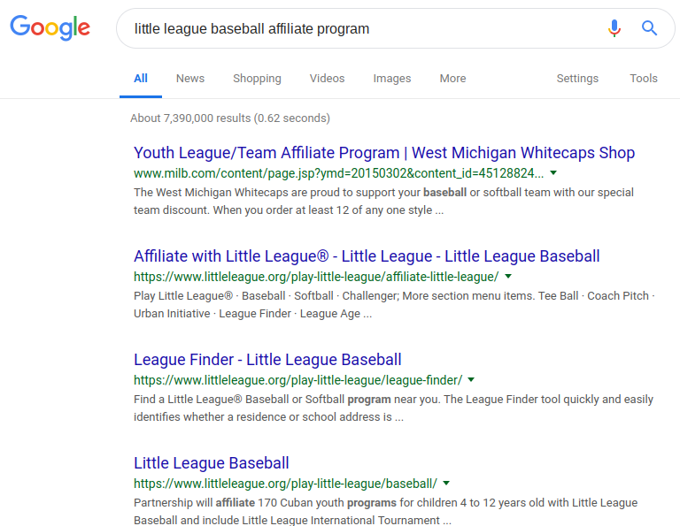 Little League baseball affiliate programs in Google search results