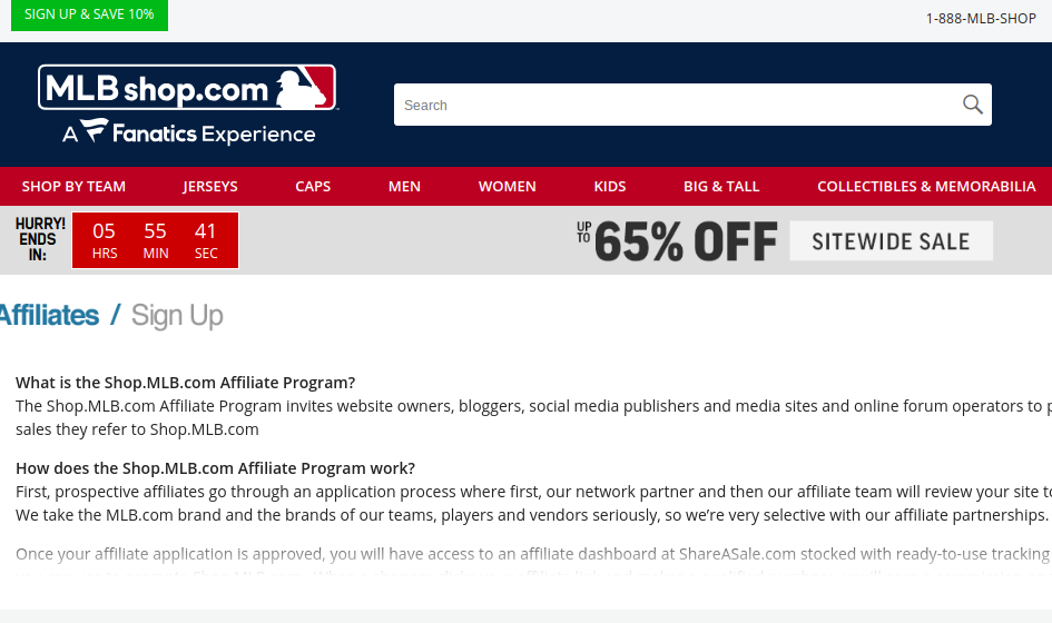 MLB Shop baseball affiliate program sign up page