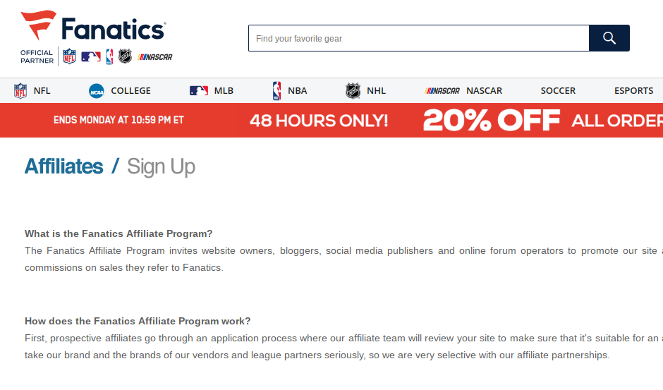 affiliate program sign up page for Fanatics
