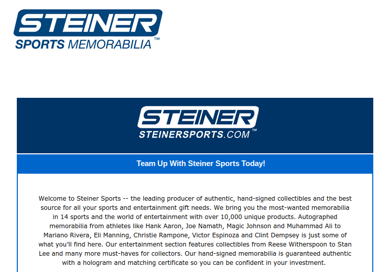 Steiner Sports collectibles affiliate program sign up page