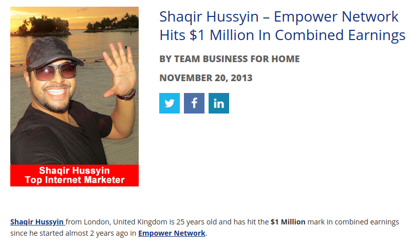 Shaqir Hussyin made his millions early on from Empower Network