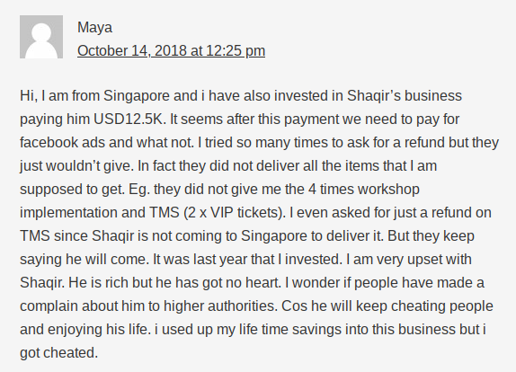 A comment on Wealth Academy answering is Shaqir Hussyin is a scam