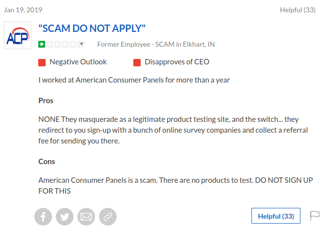 Negative review by a former member of American Consumer Panels