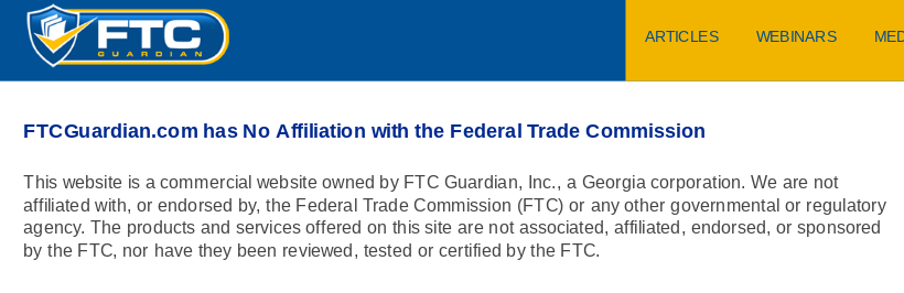 Disclaimer noting that FTC Guardian is not associated with the Federal Trade Commission