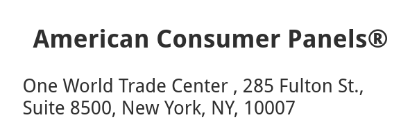 American Consumer Panels fake NY address