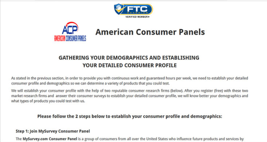 American Consumer Panels sign up directions screen