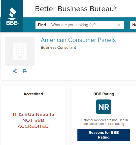 The BBB rating for American Consumer Panels