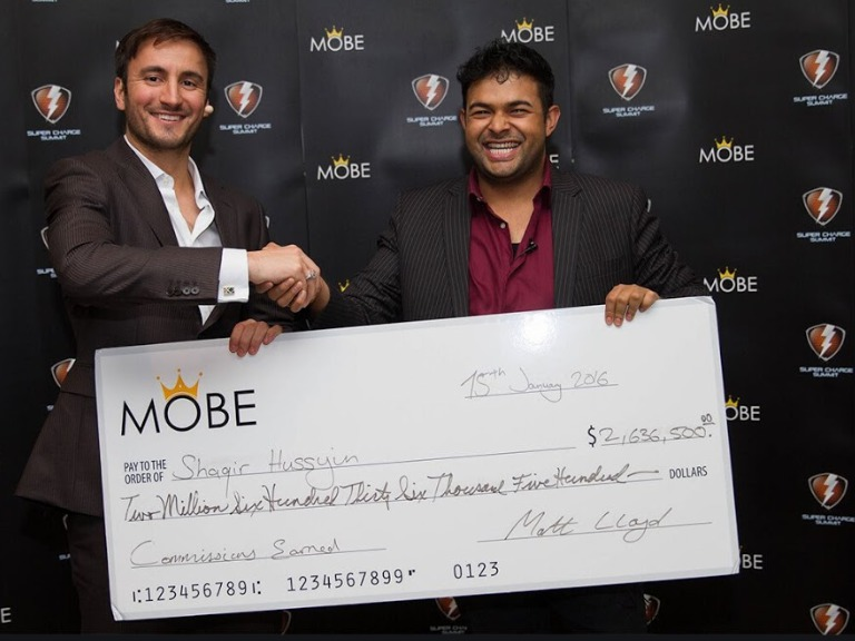 Shaqir Hussyin shows off his $2 Million Plus commission check from MOBE with Matt Lloyd