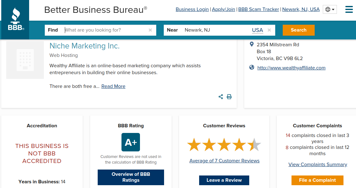 Current BBB Rating of Wealthy Affiliate