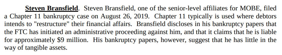 Announcement of Steven Bransfield's filing for Chapter 11 bankruptcy