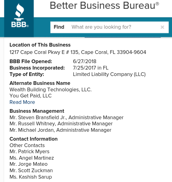 BBB Report on MOBE scam companies co-owned by Steven Bransfield