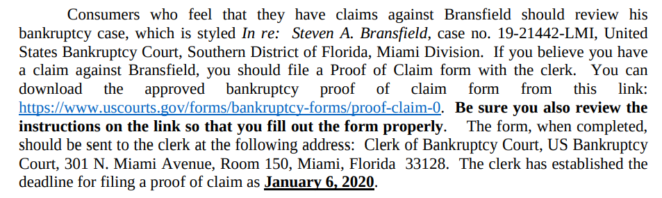 Info on how and when to file a claim against Steven Bransfield for scamming you.