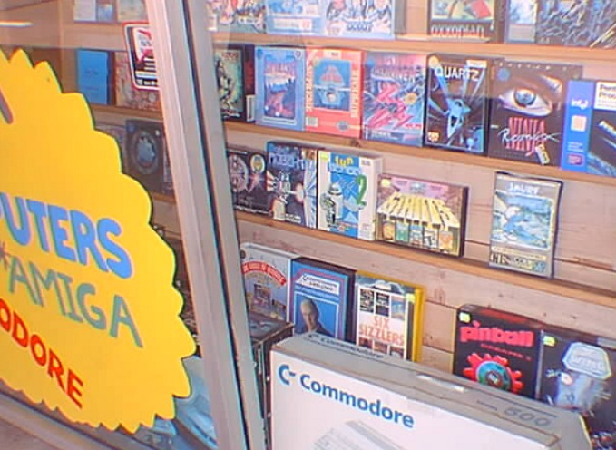 Computer software store display from 1980s