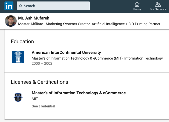 Mr Ash Mufareh's Education listed on LinkedIn