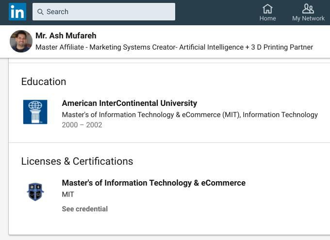 Mr Ash Mufareh's Education listed on LinkedIn