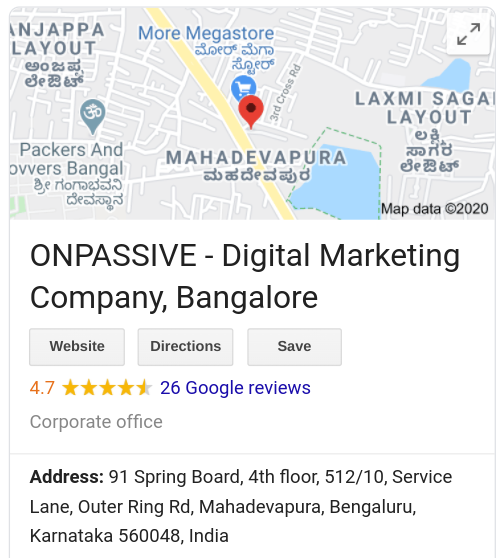 ONPASSIVE India HQ address from Google