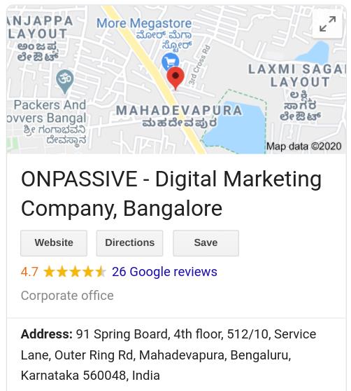 ONPASSIVE India HQ address from Google