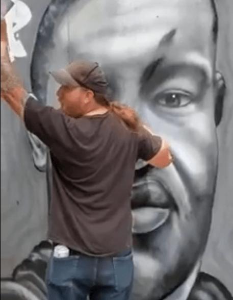 George Floyd portrait by a street artist