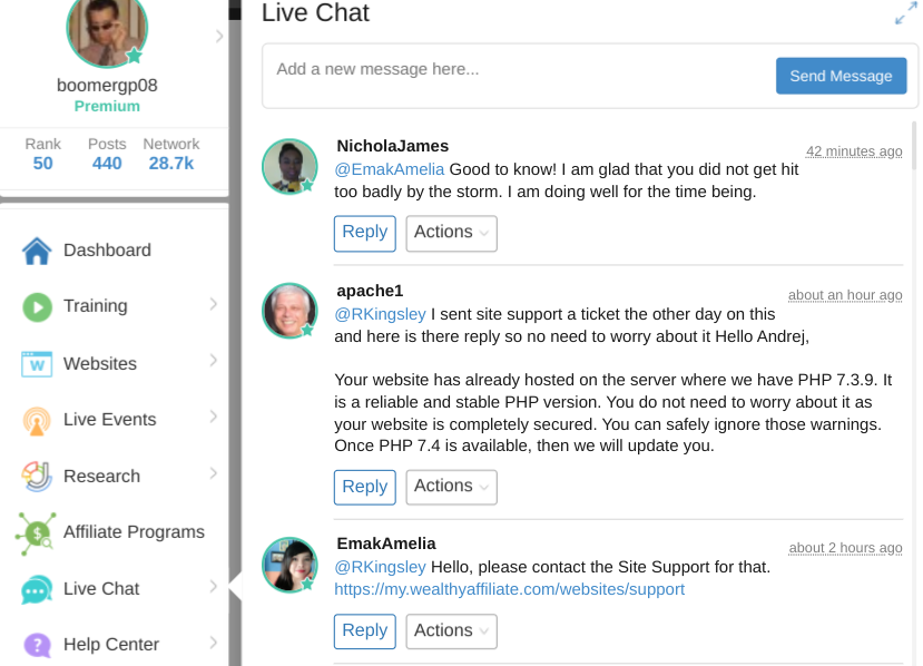 Screenshot of the Wealthy Affiliate Live Chat