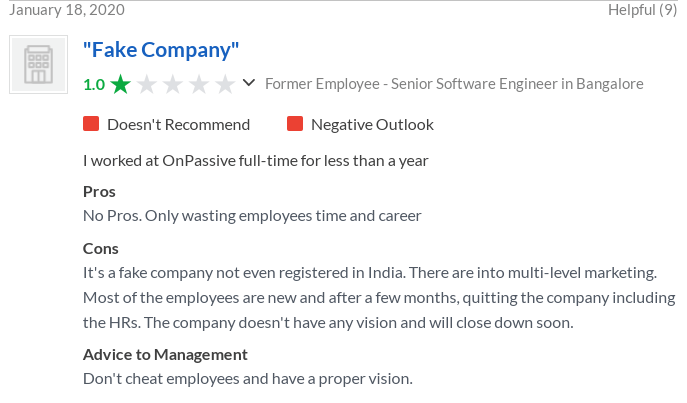 Glassdoor complaint about OnPassive Bangalore Inia claiming it is a fake company