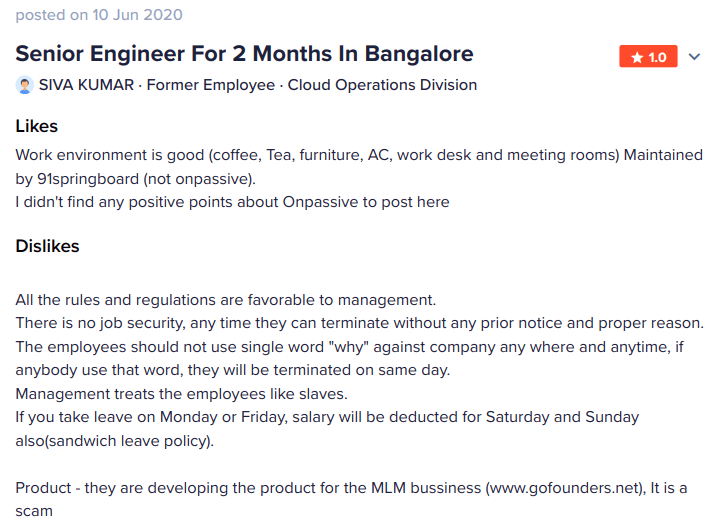 June 2020 complaint by software engineer for OnPassive Bangalore India