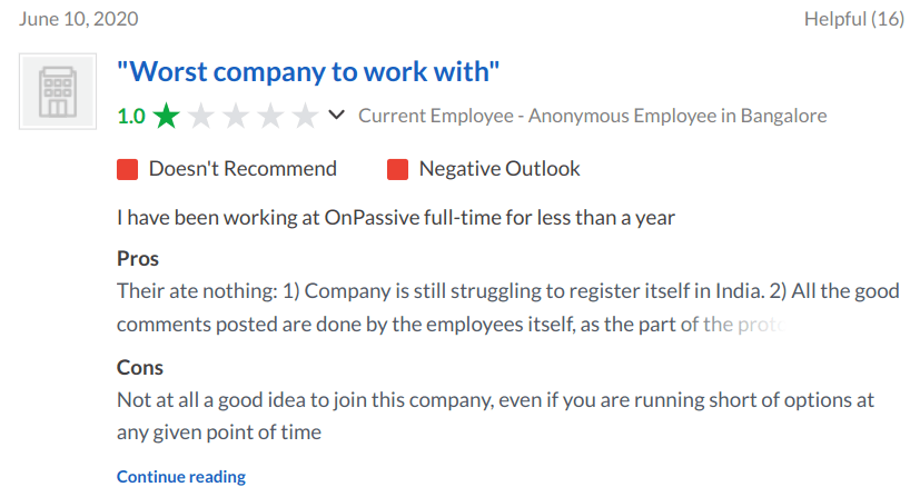 Glassdoor complaint by current OnPassive employee claomong it is the worst company to work with