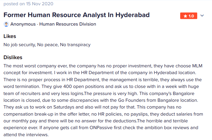 Nov 15 complaint fro HR department at OnPassive Hyderabad India