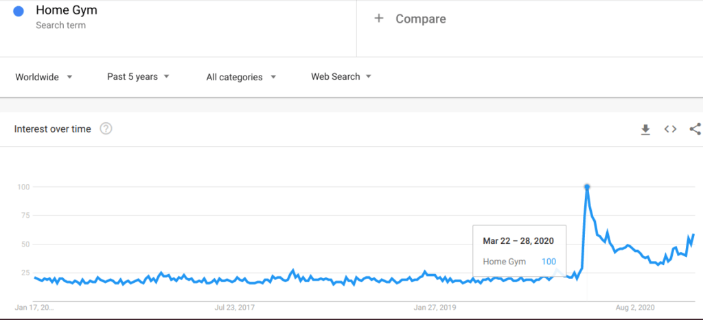 Google Trends graph on Home Gym