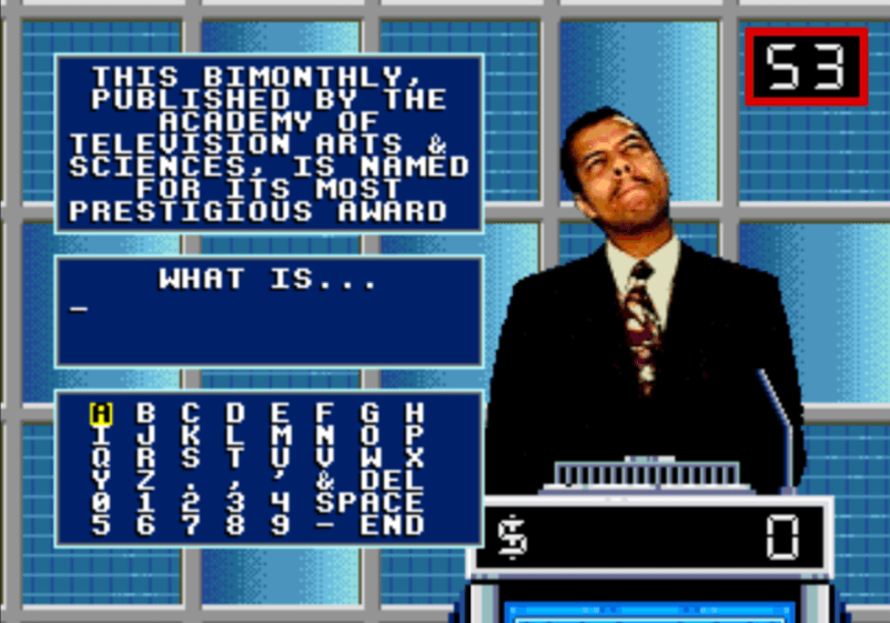 Making money with video games asI appeared as a contestant in the Sega CD video game of Jeopardy